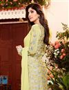 photo of Shilpa Shetty Party Wear Georgette Fabric Salwar Kameez In Yellow Color