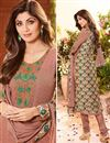 photo of Shilpa Shetty Party Wear Georgette Fabric Salwar Kameez In Peach Color