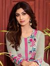 photo of Shilpa Shetty Party Wear Georgette Fabric Salwar Kameez In Cream Color