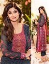 photo of Shilpa Shetty Grey Color Designer Salwar Kameez In Georgette Fabric