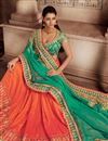 image of Superbly Embroidered Festive Wear Designer Green And Orange Color Chiffon And Art Silk Fabric Saree With Blouse