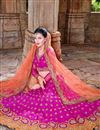 photo of Magenta Georgette Wedding Bridal Lehenga Choli