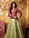 image of Jennifer Winget Designer Mehendi Green Color Banarasi Fabric Long Floor Length Anarkali Dress