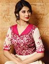 picture of Jennifer Winget Party Wear Fancy Cream Color Banglori Silk Fabric Floor Length Anarkali Suit