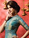 picture of Jennifer Winget Designer Fancy Teal Color Banarasi Silk Fabric Long Anarkali Salwar Kameez