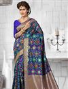 image of Impressive Blue Color Heavy Weaving Party Wear Saree