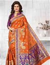 image of Superb Orange Color Heavy Weaving Saree In South Indian Style Silk Fabric