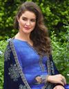 photo of Satin Silk Fabric Embroidered Churidar Salwar Suit In Blue Color