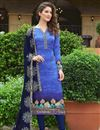 image of Satin Silk Fabric Embroidered Churidar Salwar Suit In Blue Color