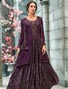 image of Party Style Printed Readymade Gown In Burgundy Color Georgette