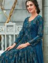photo of Sky Blue Function Wear Printed Fancy Georgette Readymade Gown