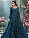 image of Sky Blue Function Wear Printed Fancy Georgette Readymade Gown