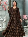 image of Georgette Printed Festive Wear Brown Designer Readymade Gown