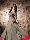 picture of Marvelous Beige Color Silk Long Anarkali Suit Featuring Jennifer Winget