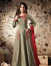 image of Marvelous Beige Color Silk Long Anarkali Suit Featuring Jennifer Winget