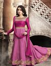 image of Satin Festive Wear Anarkali Salwar Suit With Embroidery Work In Magenta Color