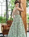 picture of Net Fabric Function Wear Designer Long Length Anarkali Suit In Cyan