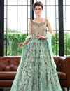 image of Net Fabric Function Wear Designer Long Length Anarkali Suit In Cyan