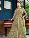 image of Function Wear Net Fabric Designer Sea Green Long Length Anarkali Suit