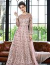 image of Pink Designer Function Wear Floor Length Anarkali Suit In Net Fabric