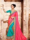 image of Fancy Fabric Creative Pink And Cyan Color Embroidered Saree With Unstitched Designer Blouse