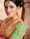 photo of Excellently Embroidered Green And Pink Color Designer Festive Wear Fancy Fabric Saree