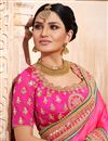 photo of Spectacular Mustard And Pink Color Party Wear Embroidered Saree With Dhupion Fabric Unstitched Designer Blouse