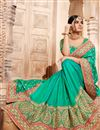 picture of Spectacular Green Color Party Wear Embroidered Saree With Dhupion Fabric Unstitched Designer Blouse
