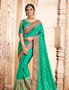 image of Spectacular Green Color Party Wear Embroidered Saree With Dhupion Fabric Unstitched Designer Blouse