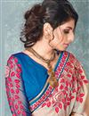 photo of Sizzling Party Style Blue And Cream Color Chiffon Fabric Fancy Embellished Saree