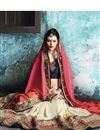 photo of Designer Embroidered Beige And Red Color Chiffon And Georgette Saree