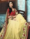 photo of Designer Georgette Saree In Yellow Color With Embroidery