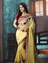 image of Designer Embroidered Yellow Color Georgette Saree
