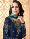 photo of Designer Function Wear Georgette Navy Blue Embroidered Sharara Suit