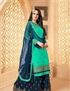 image of Georgette Designer Function Wear Embroidered Palazzo Dress In Cyan