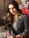 photo of Grey Embellished Georgette Fabric Straight Cut Suit