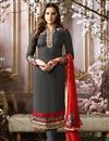 image of Grey Embellished Georgette Fabric Straight Cut Suit