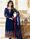 image of Ayesha Takia Embellished Fancy Salwar Kameez In Navy Blue Georgette