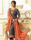 image of Ayesha Takia Grey Embroidered Designer Salwar Suit In Georgette