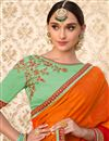 photo of Party Wear Rust Color Chiffon Fancy Embroidered Saree