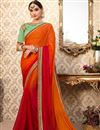 image of Party Wear Rust Color Chiffon Fancy Embroidered Saree