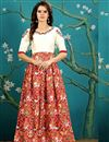 image of Party Wear Red And White Color Silk Fabric Designer Digital Print Embroidered Evening Gown