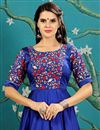 photo of Designer Party Wear Blue Color Silk Fabric Fancy Digital Print Embroidered Evening Gown