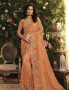image of Orange Fancy Fabric Function Wear Embroidered Saree