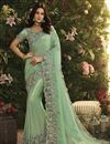 image of Function Wear Fancy Fabric Embroidered Cyan Saree