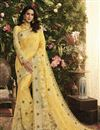 image of Fancy Fabric Function Wear Yellow Embroidered Saree
