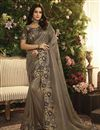 image of Function Wear Fancy Fabric Embroidered Dark Beige Saree