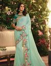 image of Fancy Fabric Cyan Function Wear Embroidered Saree