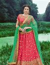 image of Stylishly Embroidered Wedding Wear Pink Color Lehenga In Banarasi Silk Fabric