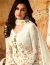 photo of Designer Georgette Festive Wear Embroidered Off White Palazzo Suit